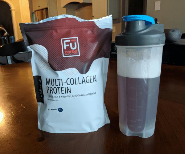 bag of collagen powder beside collagen added to flavored water