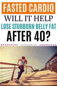 woman running up stairs to lose belly fat while fasting