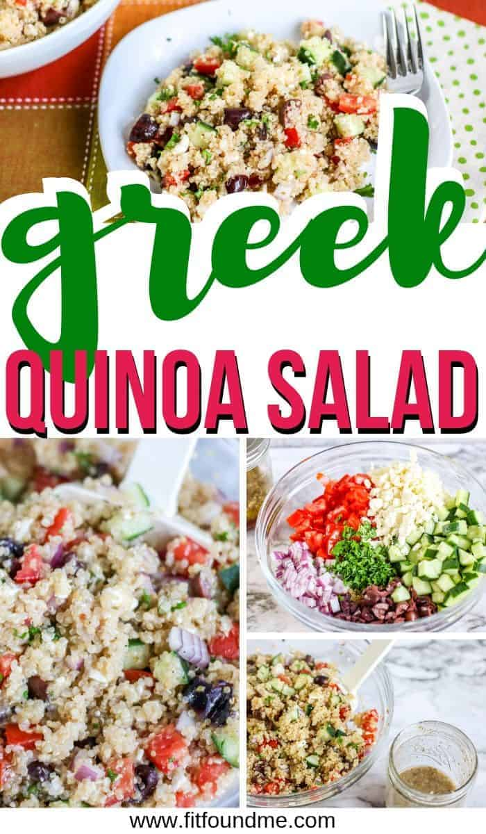 fresh ingredients for greek quinoa salad in bowls