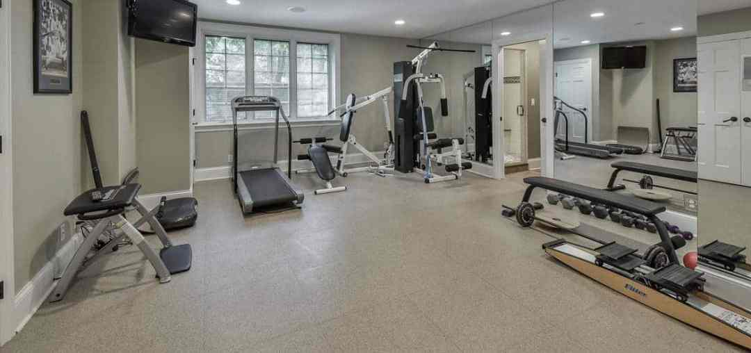 home workout room with light flooring