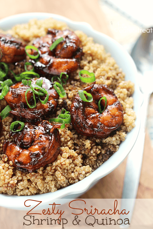 spicy sriracha with shrimp and quinoa dish