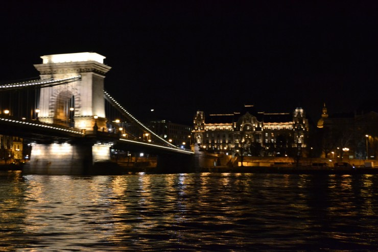 Views from a night cruise in Budapest, Hungary