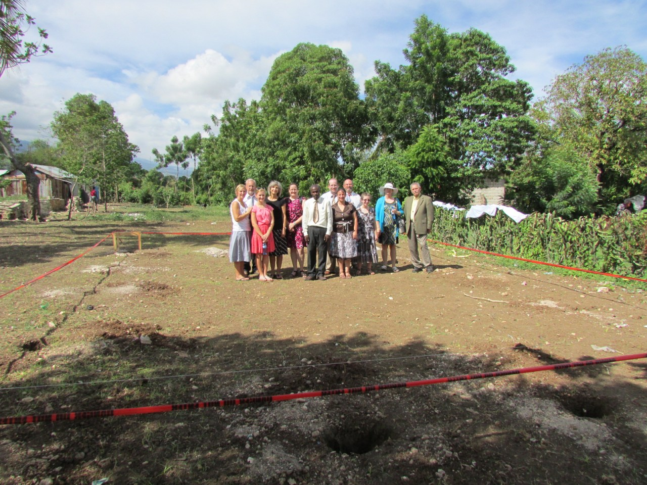 The team assembles on the church plot – BEFORE