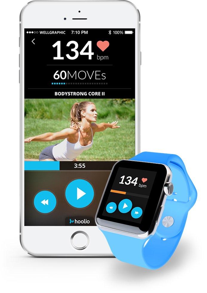 Hoolio fitnessvideo's met apps voor iPhone en Apple Watch