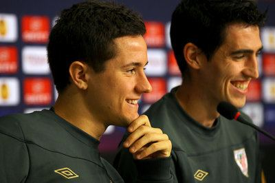 BUCHAREST, ROMANIA - MAY 08:  In this handout image provided by UEFA, Ander Herrera (L) and Andoni Iraola of Athletic Bilbao smile during the Athletic Bilbao press conference ahead of the UEFA Europa League Final between Atletico Madrid and Athletic Bilbao at the National Arena on May 8, 2012 in Bucharest, Romania.  (Photo by Handout/UEFA via Getty Images)