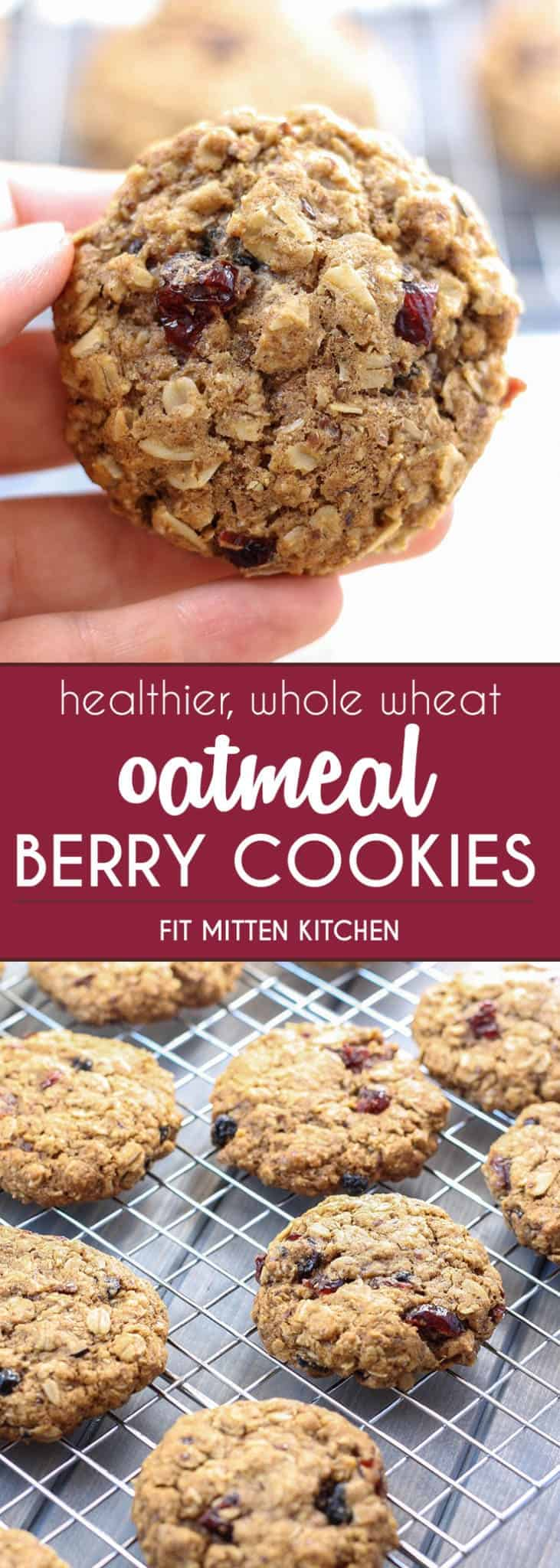 Healthier and whole wheat Oatmeal Berry Cookies!