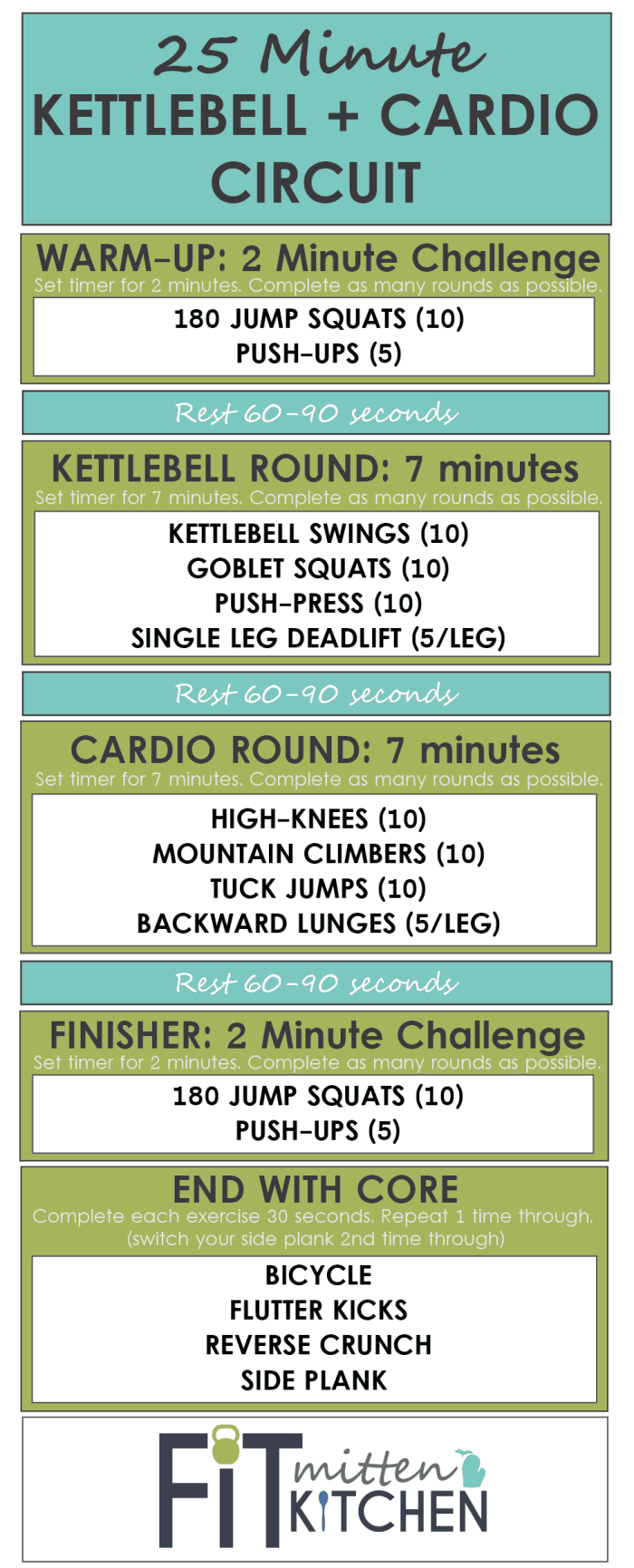 25 Minute Kettlebell + Cardio Circuit