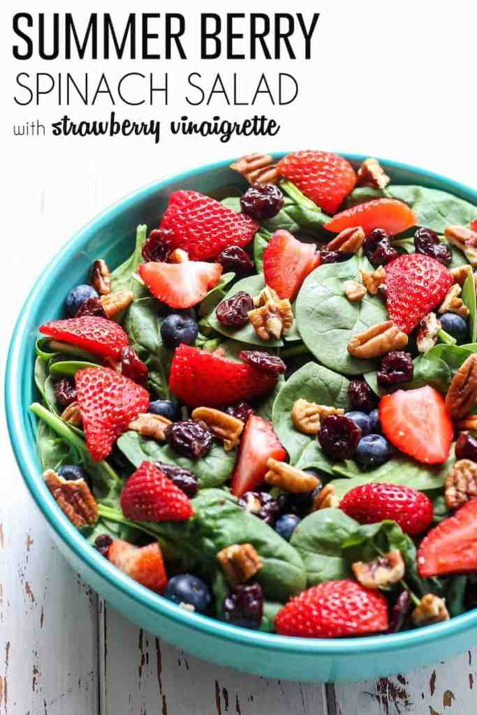 A totally delicious Summer Berry Spinach Salad with a recipe for an easy, healthy strawberry vinaigrette! #sponsored by NOW Foods
