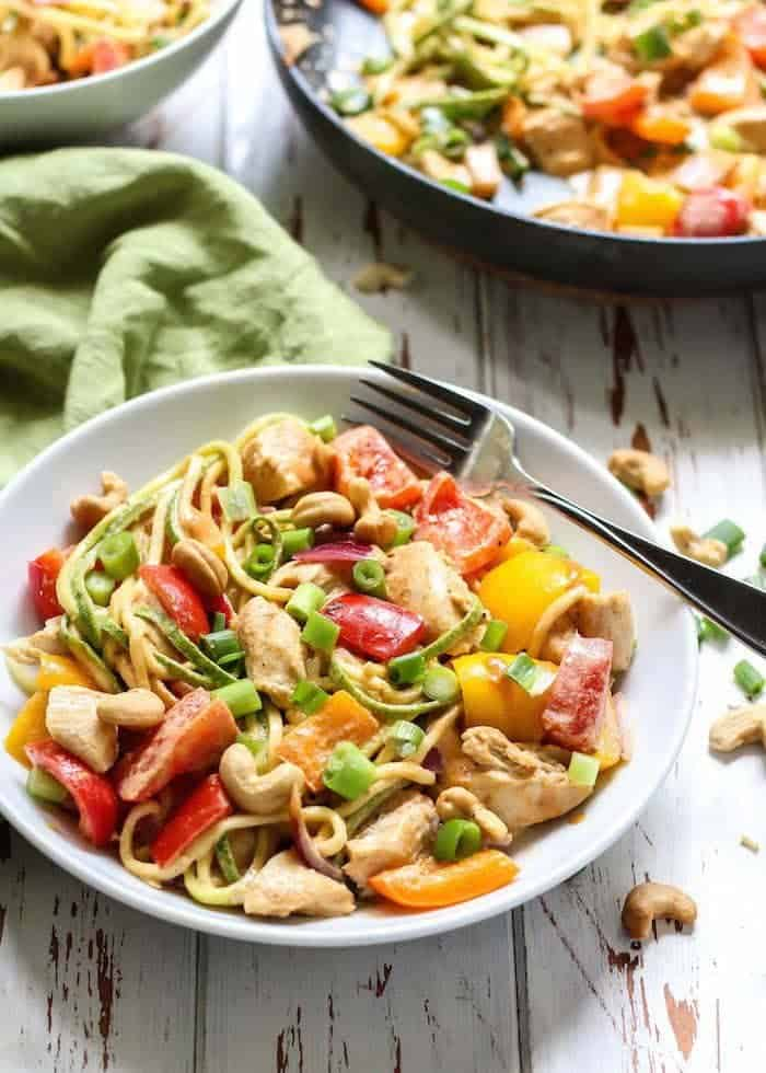 Spicy Chicken Cashew Zucchini Noodles are a great healthy meal option. Easy to make and requires little time.