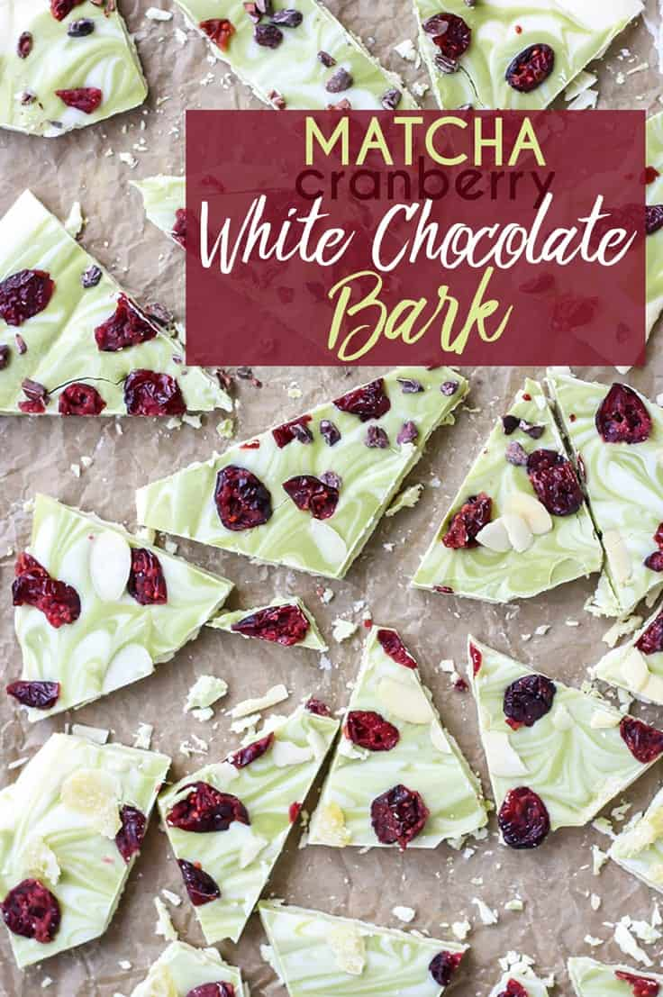 Make this pretty Matcha Cranberry White Chocolate Bark to give as gifts, put on your holiday cookie exchange plate, or just enjoy yourself!