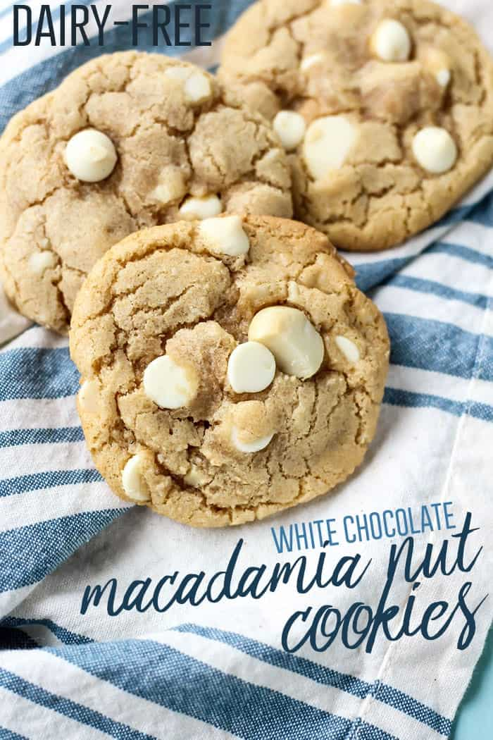 Dairy-free White Chocolate Macadamia Nut Cookies made dairy free! Perfect with a tall glass of almondmilk.