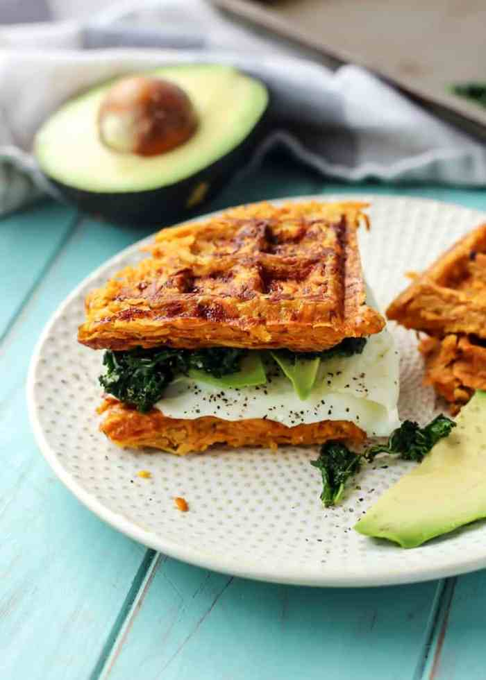Paleo Sweet Potato Waffle Breakfast Sandwich. This makes a great weekend breakfast to change things up!