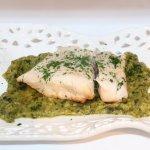 Pesce persico con crema di zucchine