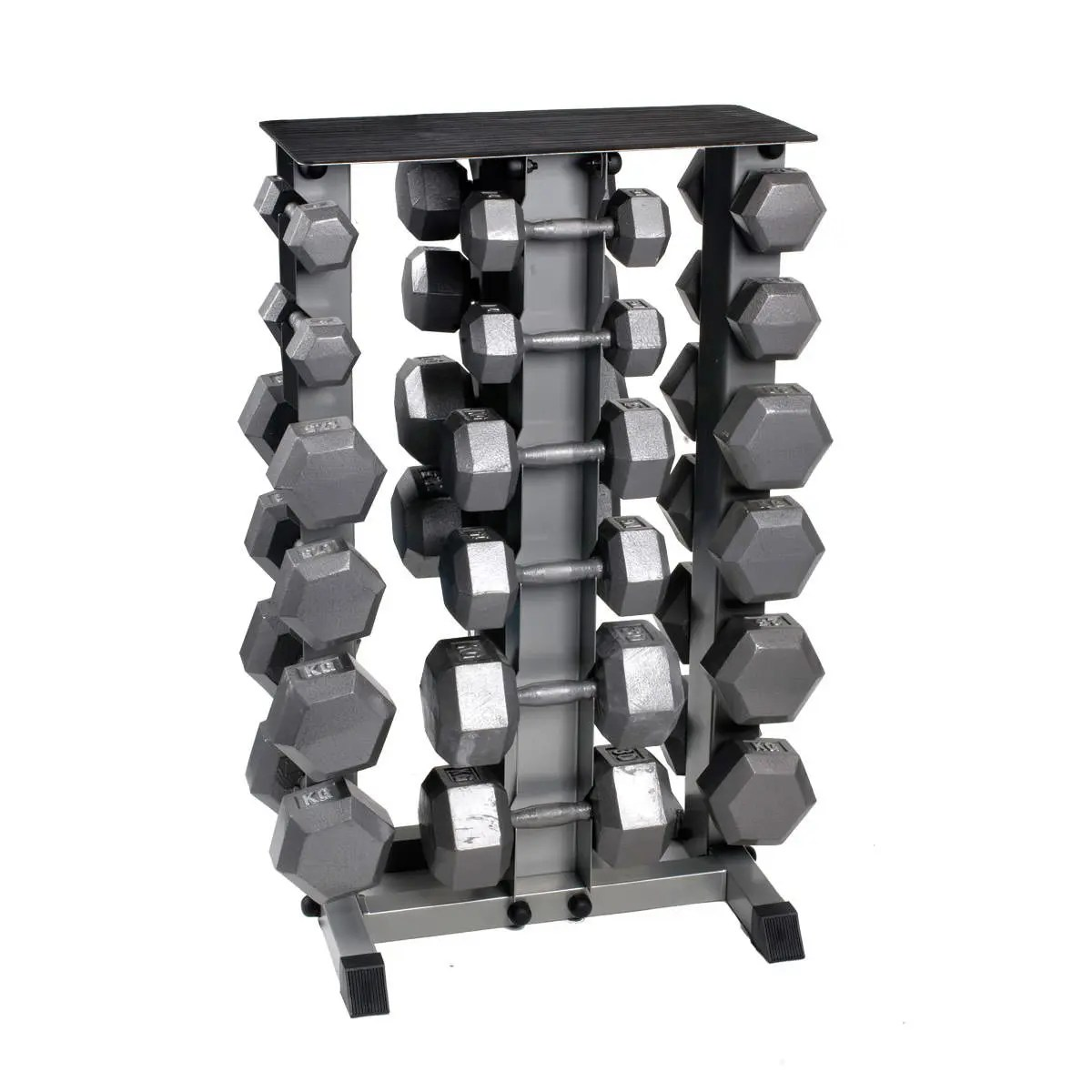 hex dumbbell set with rack by bodypower
