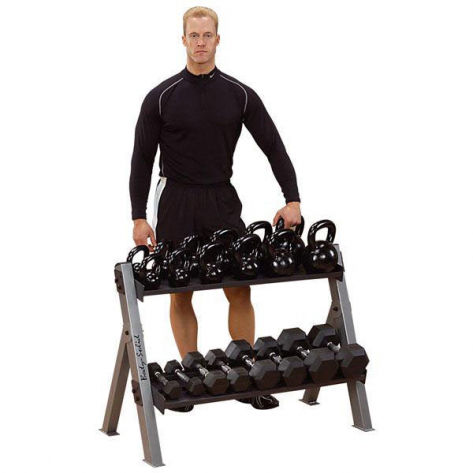 body solid dual dumbbell and kettlebell rack