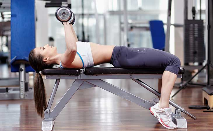 Woman Lifting Dumbbells While Using A Weight Bench
