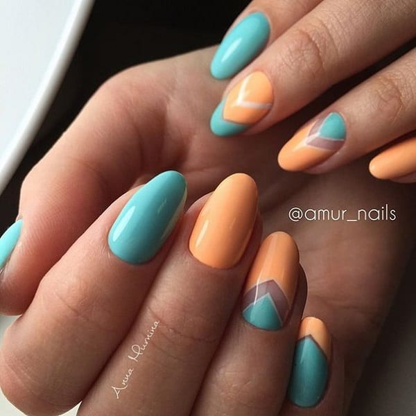 Blue and Orange Negative Space Nail Art Design