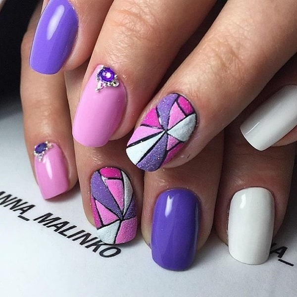 Glittered Purple Hued Geo Nail Art
