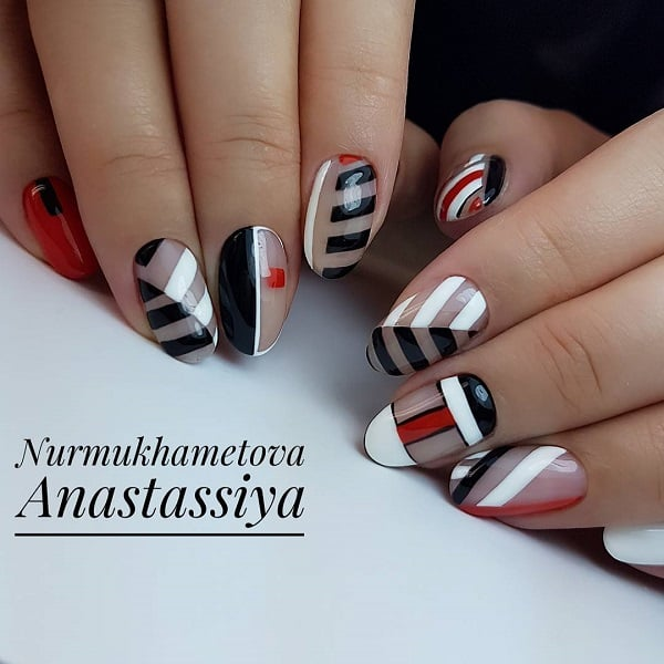 Negative Space Monochrome Nail Art