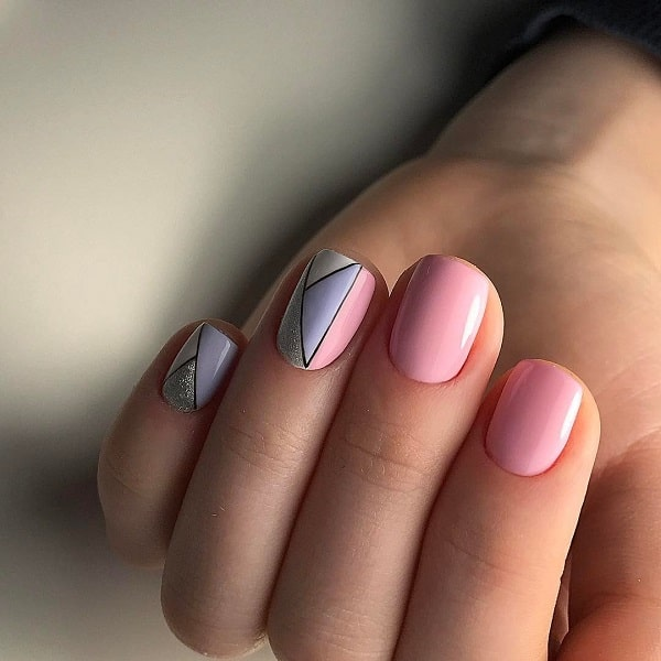 Pastel Colors Geometric Nail Art Design