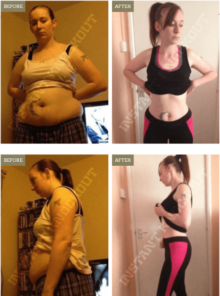 Before after picture of Katie using Instant Knockout fat burner