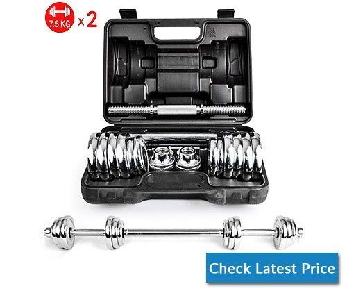 Anchor1 15kg Silver Electroplating Adjustable Weights Man Dumbbell Set with Carry Case Barbell Home Gym