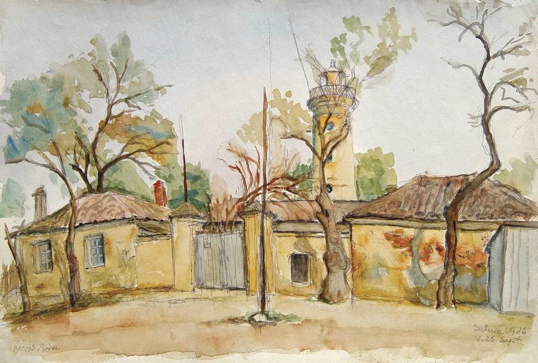 Medi Wechsler, Peisaj la Sulina, 1980, acuarelă