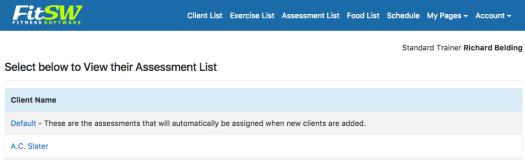 Set Default Assessments for your Fitness Progress Graphs.