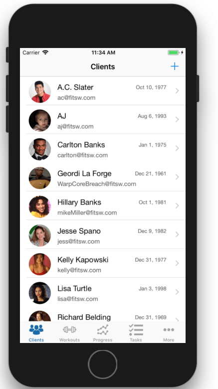 Profile pics helps personalize your personal training client list even further.