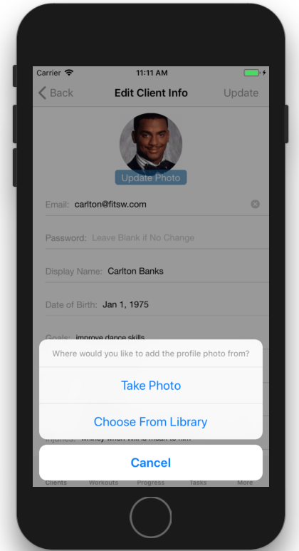 Adding Profile Pictures for Personal Training Clients in iOS as a personal trainer.