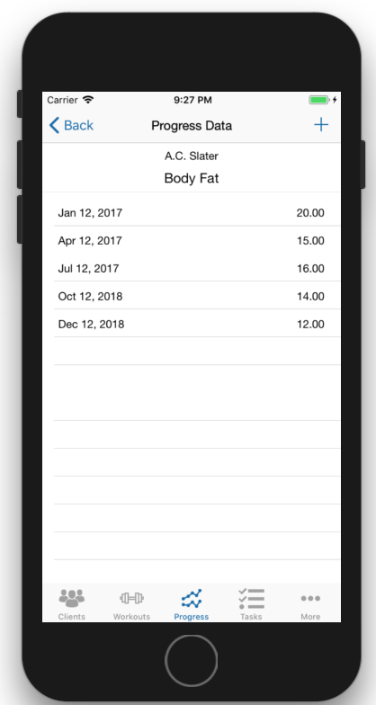 Client Fitness Progress Tracking Data Table