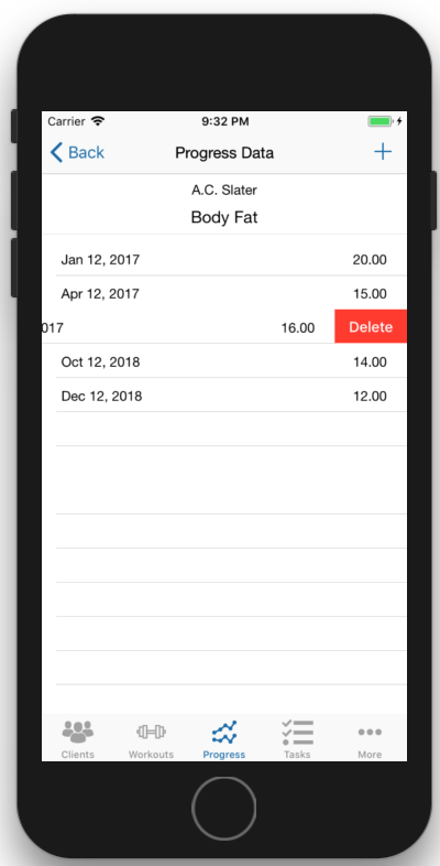 Client Fitness Progress Tracking Delete Data.