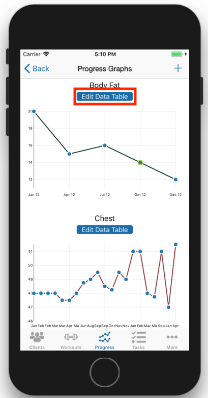 Client Fitness Progress Tracking Graph