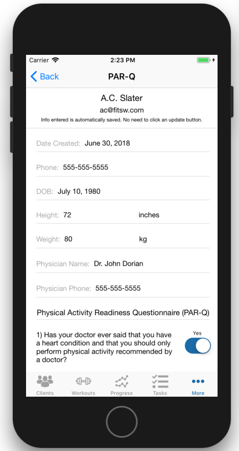 PAR-Q iOS App Viewing Editing Physical Activity Readiness Questionnaire