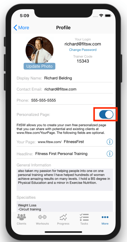 Personalized Personal Trainer Web page Activation Switch