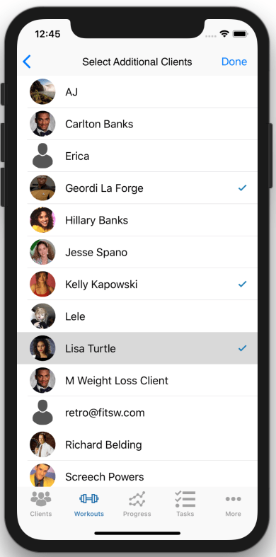 Creating Workout Plans for multiple Clients At Once Mobile App Select Clients