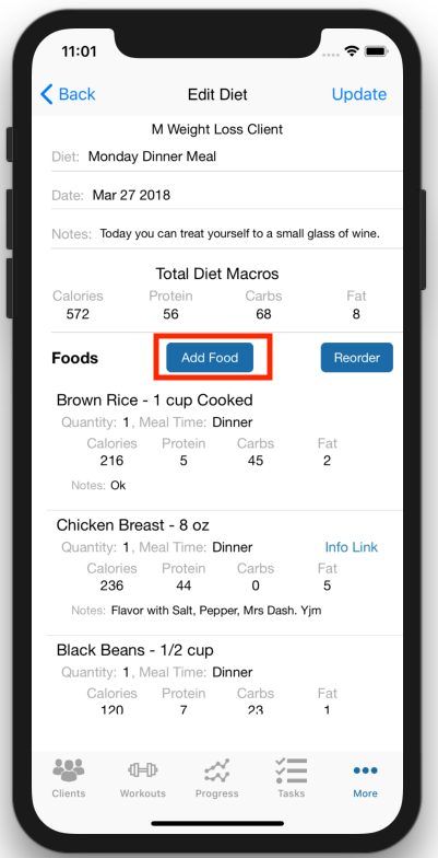 Fitness Coach Meal Planning Add Food on the Fly