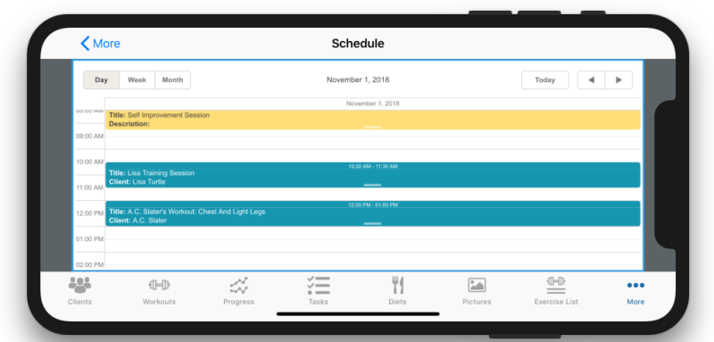 Personal Trainer Scheduler Improvement Calendar View