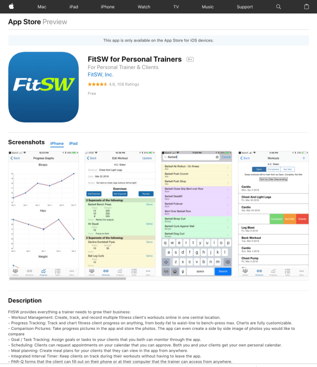 Personal Trainer Software for iOS and Android iOS App Store