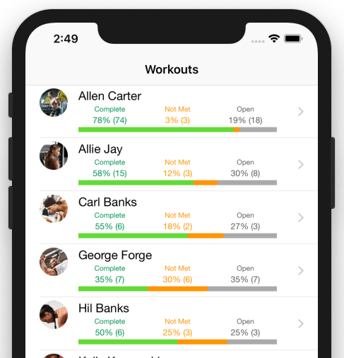 Fitness Coach Client Tracker Dashboard For Mobile Apps