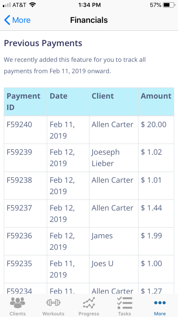Personal Trainer Payment Tracker Update