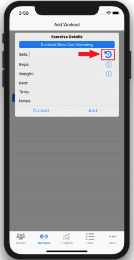 Screen To Find New Exercise Progress Feature Update