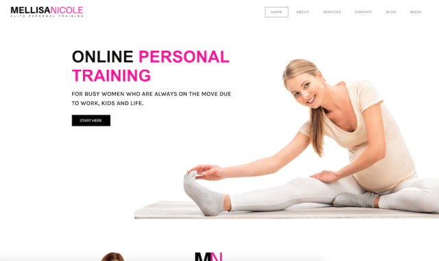 Mellisa Nicole Fitness - Online Personal Trainers Website Example
