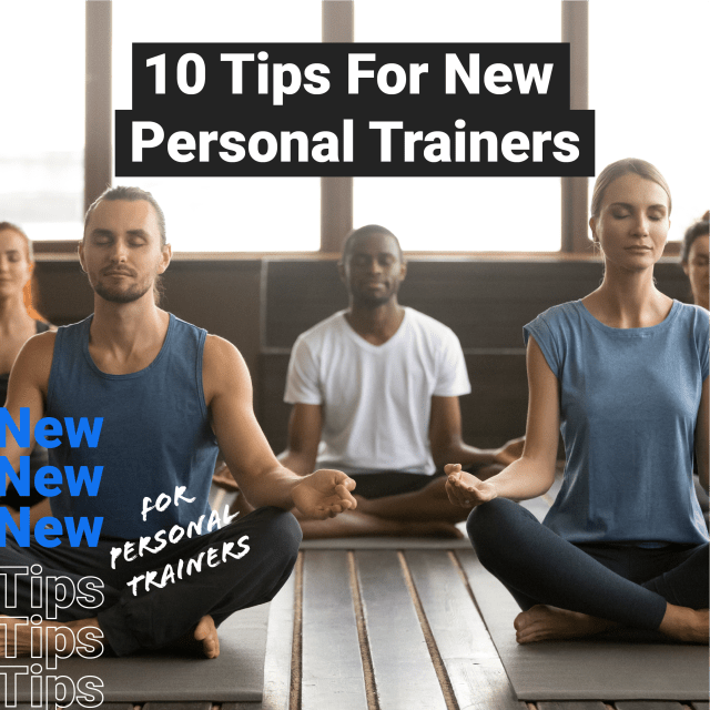 10 Tips for New Personal Trainers featured image of a group of people meditating during a yoga session.