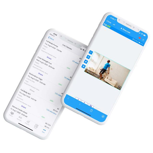 FitSW Update From July: Mockup of two iphones displaying what live fitness classes looks like on the FitSW mobile apps.