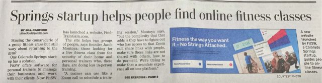 FitSW in the News: image of a newspaper clipping from a local newspaper running a story on FitSW