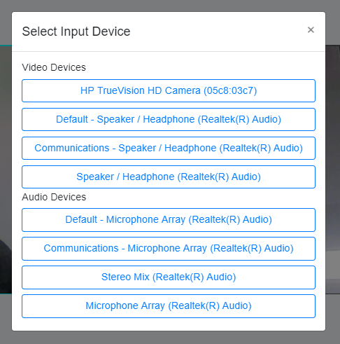 Select your input device for audio and visual in FitSW Live Fitness Classes