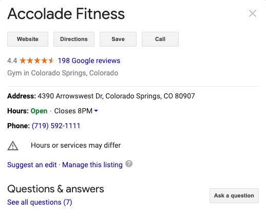 Local Fitness Business