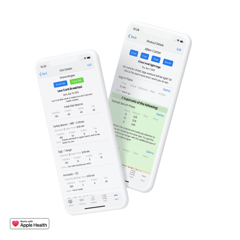 Image of two iPhone Mockups floating in the Air announcing that FitSW integrates with Apple HealthKit.