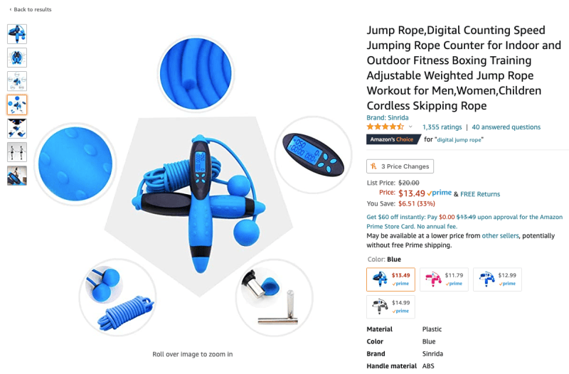 Personal training costs - Digital jump rope